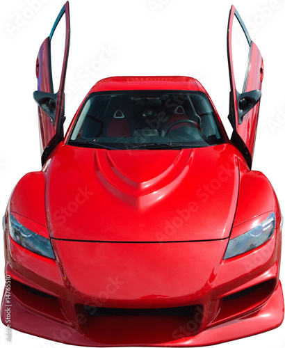 Deurstickers Snelle auto s Red sport car isolated on white