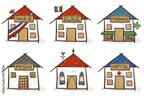 Photo 6 croquis de maisons - institutions
