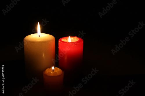 Fototapeta Three Candles In Darkness obraz na płótnie