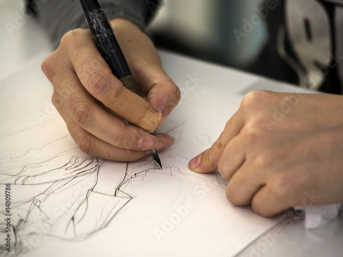 manga künstler zeichnet Canvas Print