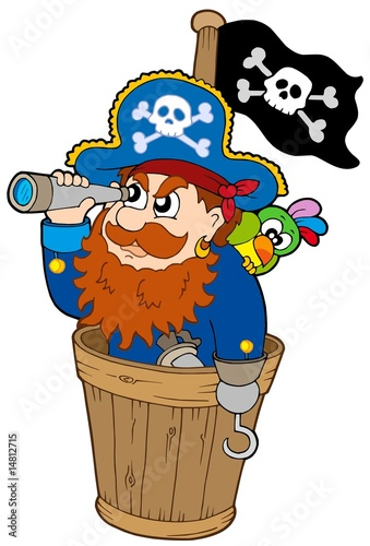 Poster de jardin Pirates Pirate at dog watch