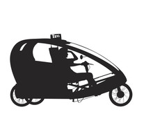 Vector Silhouette Of Bicycle Rickshaw