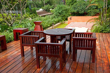 House Patio With Wooden Table ...
