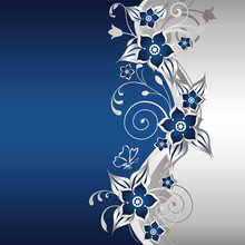 Blue And Silver Floral Background