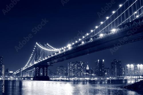 Manhattan Bridge and Manhattan skyline At Night, New York City