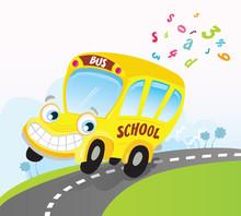 Yellow School Bus. Vector Cart...