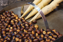 Roasted Colorful Chestnuts In Street Cafe