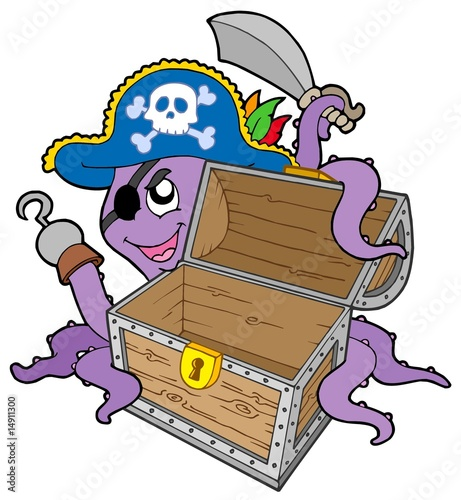 Ingelijste posters Piraten Pirate octopus with chest