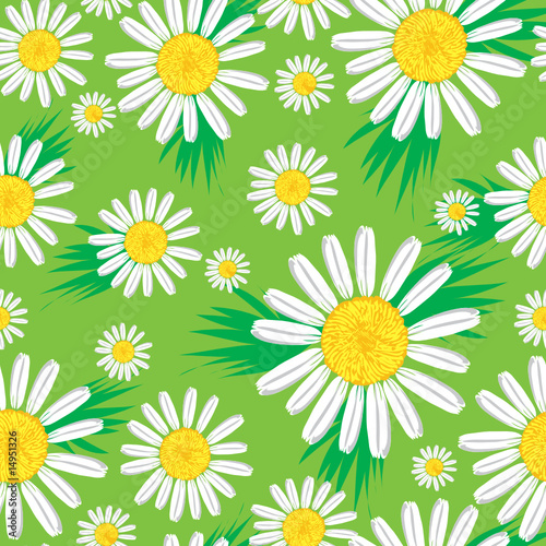 Canvas Prints Ladybugs Seamless cute floral pattern with bright chamomiles