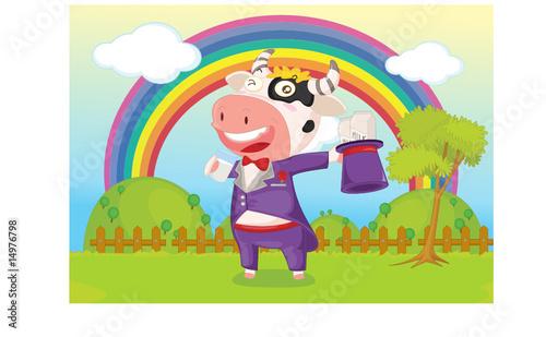 Poster Regenboog singing cow
