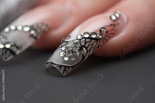 Staande foto Manicure Human fingers with long fingernail