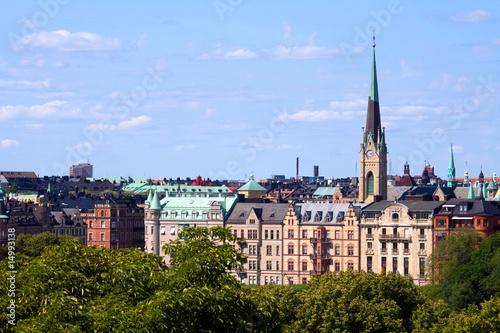 Staande foto Stockholm Häuserpanorama in Stockholm