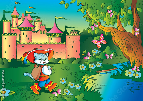 La pose en embrasure Chateau Fairy tale. Puss in Boots