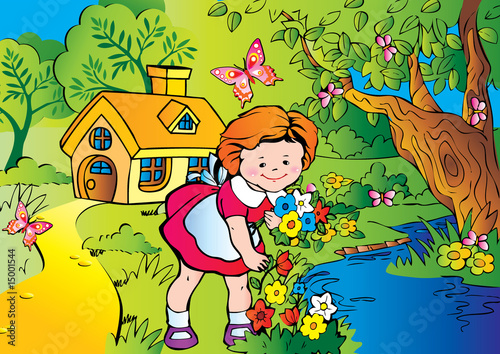Fine little girl gather flowers. Happy childhood.