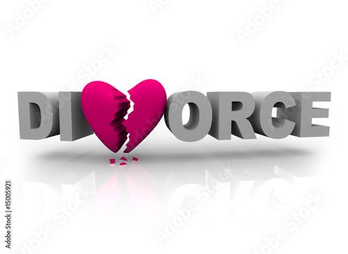 Valokuva Divorce - Word with Broken Heart