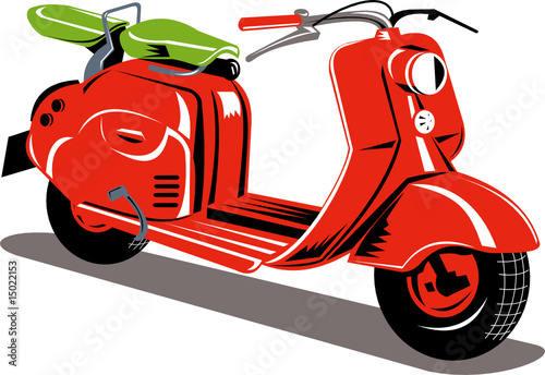 Poster Motorcycle Red motor scooter