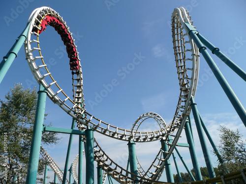 Poster Amusementspark Rollercoaster in amusement park