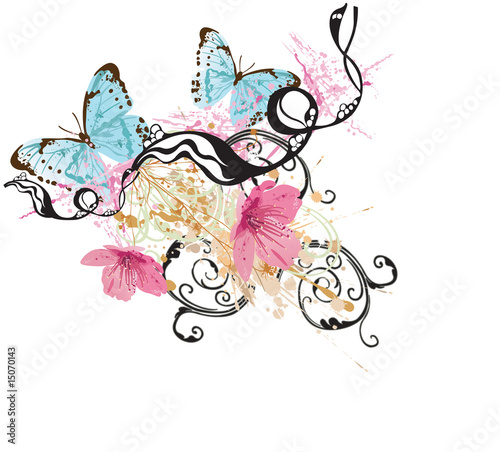 Poster Butterflies in Grunge Floral background