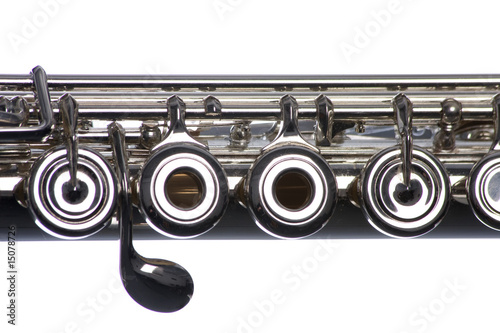 Papiers peints Musique Flute Close Up Isolated On White