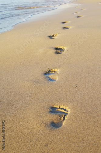 Foto-Leinwand - spuren im sand (von KaiBlume)