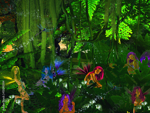 Aluminium Prints Fairies and elves Forest Faries