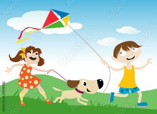 Poster Dogs children with kite
