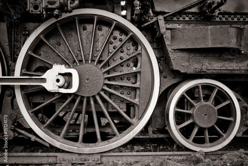 Fotomural steam locomotive wheels