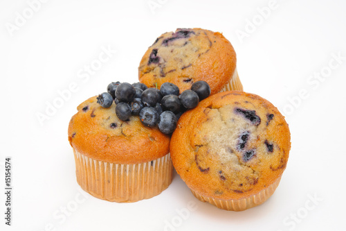 Fotografie, Obraz  Blueberry muffins with fresh blueberries