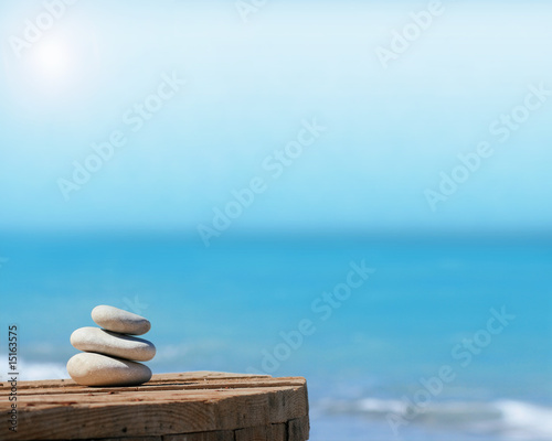 Deurstickers Stenen in het Zand macro galet devant une mer calme