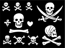A Set Of Pirate Flags, Skulls ...