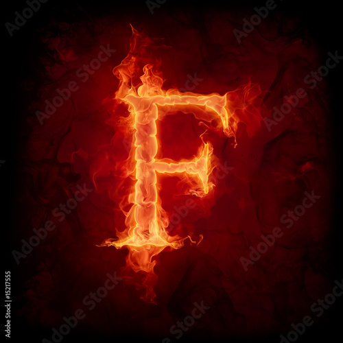 Wall Murals Flame Fire letter F