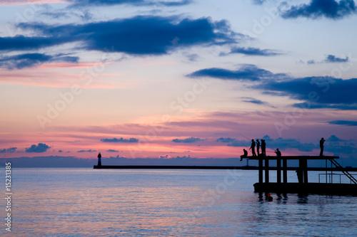 Fotobehang Pier Fishermen