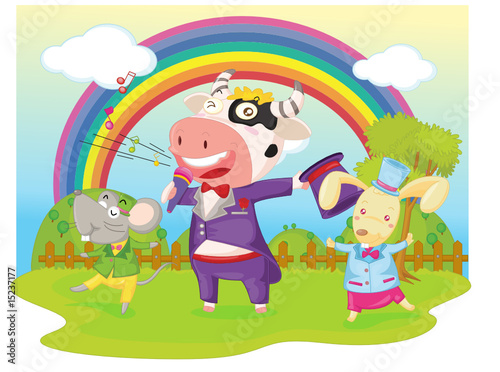 Poster Regenboog playing animals