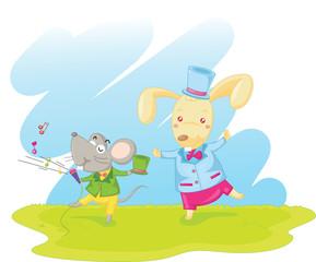 Obraz na płótnie Canvas rabbit and mouse