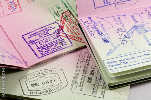 Photo  passports with visa stamps for asia
