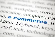 Mot E Commerce Commerce électonique Lettres Bleu Flou