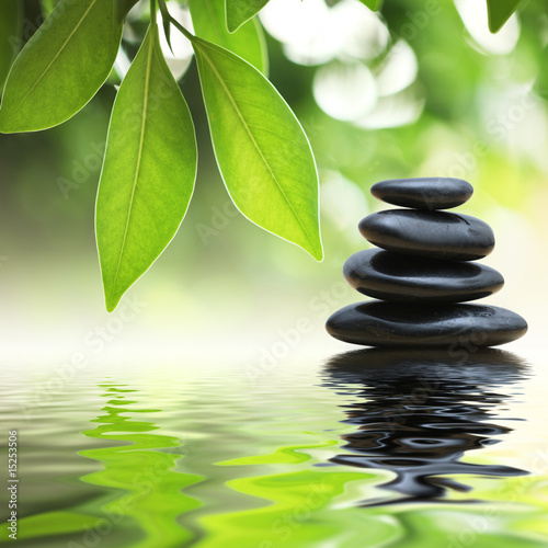 Spoed Foto op Canvas Zen Zen stones pyramid on water surface, green leaves over it