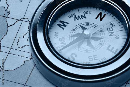 Papiers peints Con. ancienne Compass and card blue color