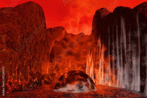 Photo sur Toile Rouge mauve vulcan on Mars