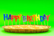 canvas print picture - Happy birthday candles in the pie