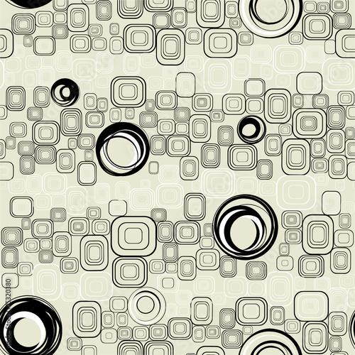 Tapeta ścienna na wymiar Seamless retro background from squares and circles.