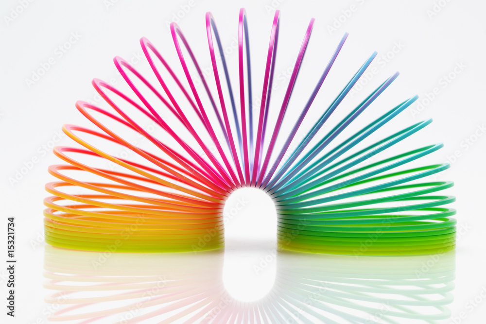 Fototapety, obrazy: Isolated colourful slinky 2