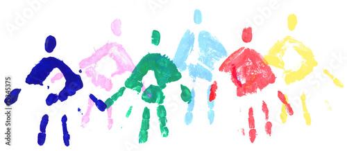 Photo  Mains personnages en peinture