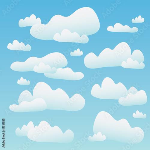 Papiers peints Ciel A blue sky full of fluffy cartoon clouds.