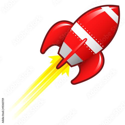 Fotografie, Obraz  Retro rocket ship illustration
