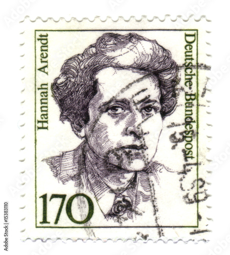 Photo  1988: A stamp printed in Germany shows Hannah Arendt
