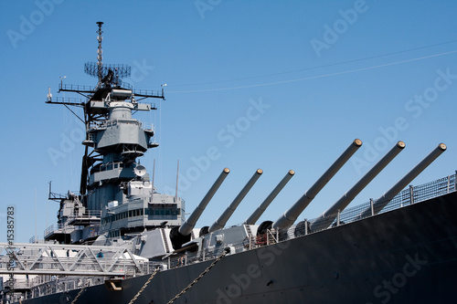 Turrets on navy battle ship Fototapeta
