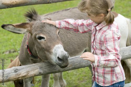 Deurstickers Ezel Little girl on farm