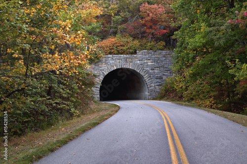 Fall scenic view of Blue Ridge Parkway and Tunnel