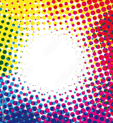 Colorful halftone dots background with empty space